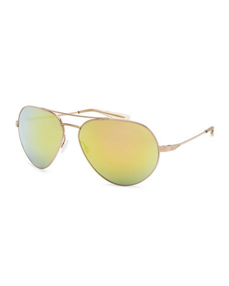 Barton Perreira Commodore Mirrored Aviator Sunglasses, Gold/Egyptian