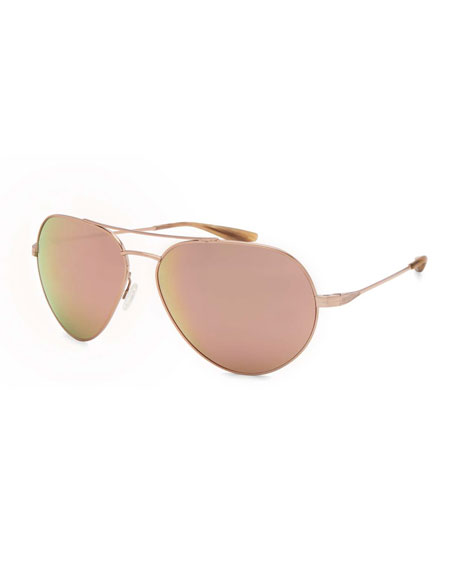 Barton Perreira Commodore Mirrored Aviator Sunglasses, Rose