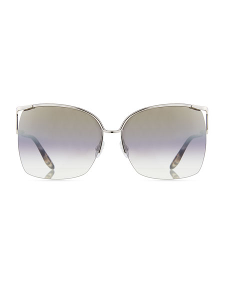 Satdha Semi-Rimless Square Sunglasses, Gray Pattern
