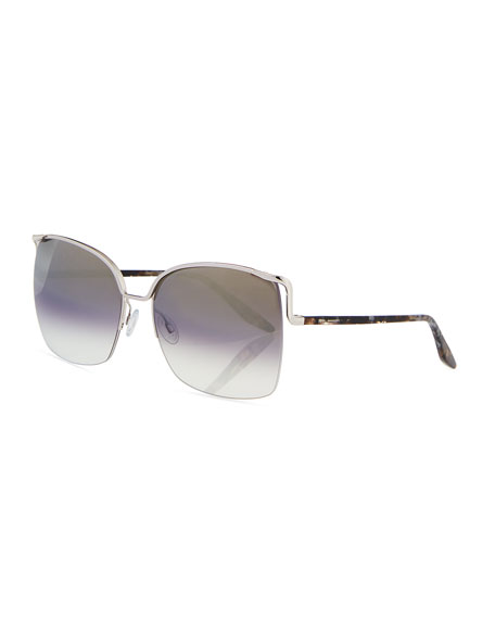 Barton Perreira Satdha Semi-Rimless Square Sunglasses, Gray