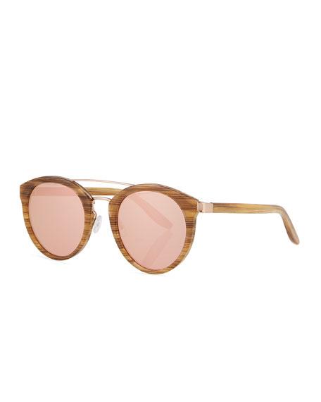 Barton Perreira Dalziel Round Universal-Fit Sunglasses, Horn/Rose