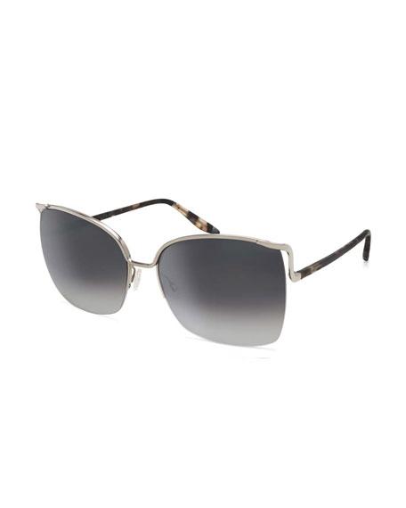 Barton Perreira Satdha Semi-Rimless Square Sunglasses,