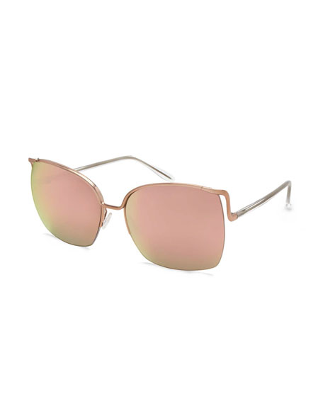 Barton Perreira Satdha Semi-Rimless Square Sunglasses, Rose