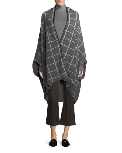 Felted Wool Windowpane Jacquard Shawl