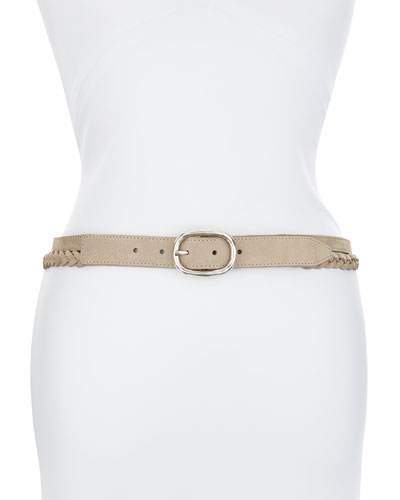 New Braided Leather Belt, Beige