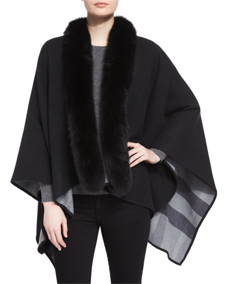 Burberry Fox Fur-Trimmed Merino Cape