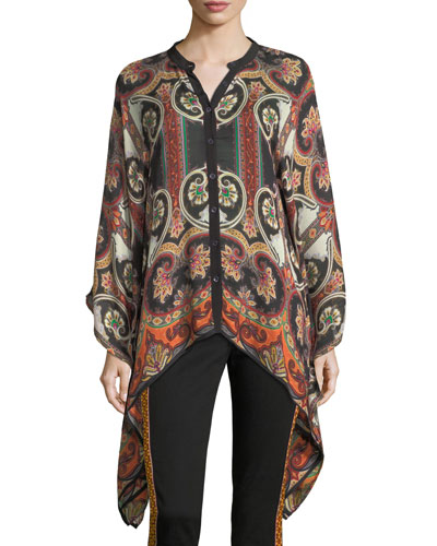 Paisley Suzani Button-Front Wool-Silk Blouse