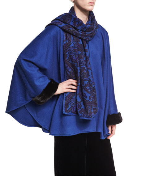 Etro Paisley-Print Cashmere Poncho with Fur Cuffs, Blue