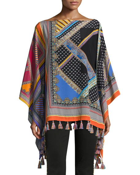 Etro Floral-Embroidered Kick-Flare Jeans with Fringe Hem, Black