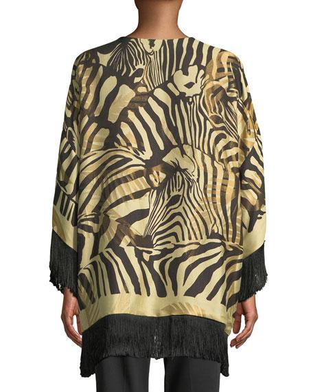 Reversible Paisley Boudoir Jacket with Fringe, Black