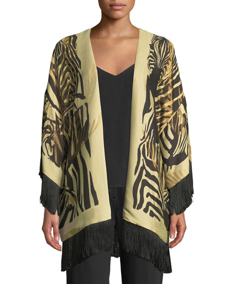 Etro Reversible Paisley Boudoir Jacket with Fringe, Black