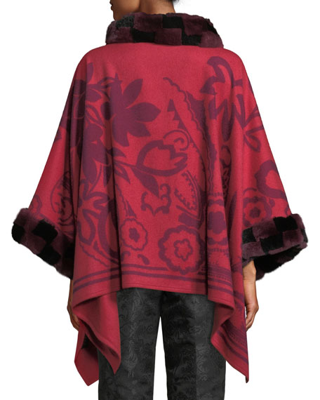 Scroll Paisley Cashmere Poncho with Fur Trim, Black