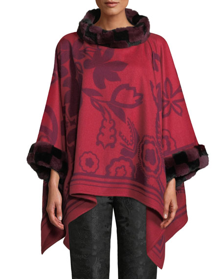 Etro Scroll Paisley Cashmere Poncho with Fur Trim,
