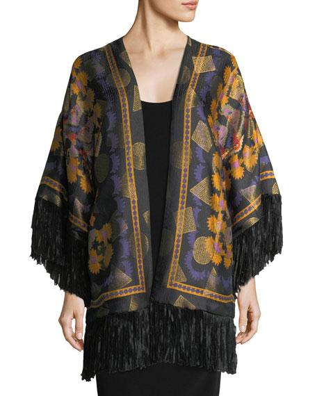 Etro Metallic Geometric Floral Poncho with Fringe