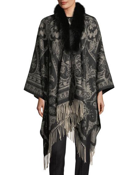 Cashmere Paisley Poncho w/ Fox Fur Trim