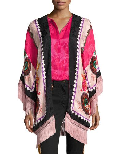 Paisley Jacquard Fringe Poncho, Pink