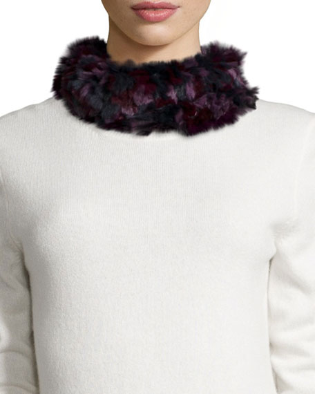 Glamourpuss NYC Knitted Rabbit Fur Funnel Scarf, Burgundy