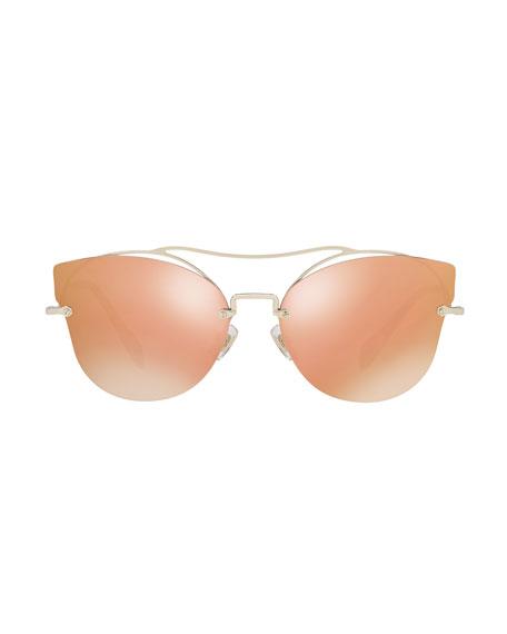 Scenique Rimless Mirrored Brow-Bar Sunglasses