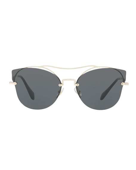 Scenique Rimless Monochromatic Brow-Bar Sunglasses, Light Gold