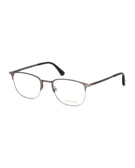 TOM FORD Square Metal Optical Frames, Gray