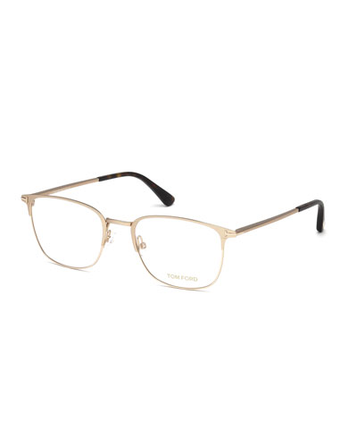 Square Metal Optical Frames, Rose Gold