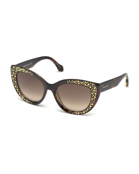 Roberto Cavalli Studded Gradient Cat-Eye Sunglasses, Brown