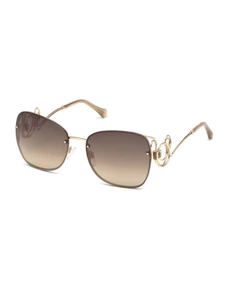 Roberto Cavalli Rimless Square Swirl Sunglasses, Rose Gold/Brown