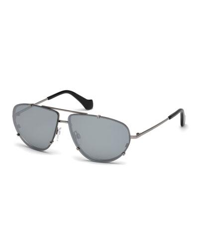 Metal Aviator Sunglasses, Gray