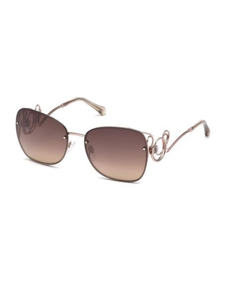 Rimless Square Swirl Sunglasses, Light Bronze/Brown