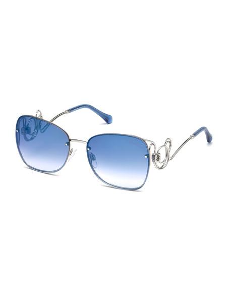Roberto Cavalli Rimless Square Swirl Sunglasses, Blue