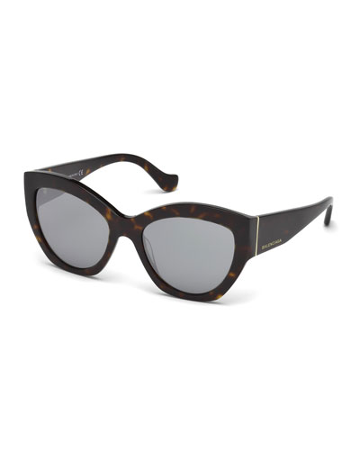 Chunky Mirrored Cat-Eye Sunglasses, Tortoise