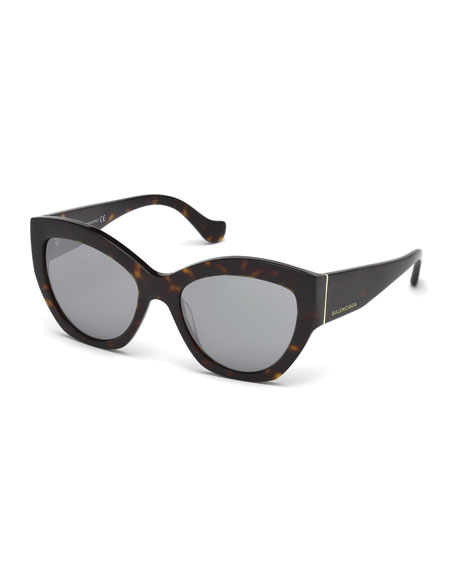 Balenciaga Chunky Mirrored Cat-Eye Sunglasses, Tortoise