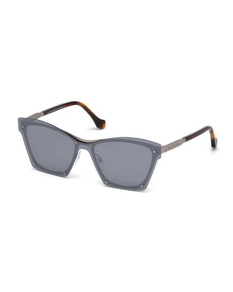 Balenciaga Squared Cat-Eye Overlay Sunglasses, Gray
