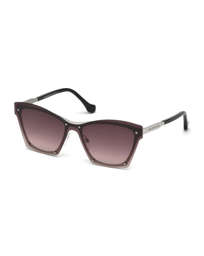 Squared Cat-Eye Overlay Sunglasses, Pink