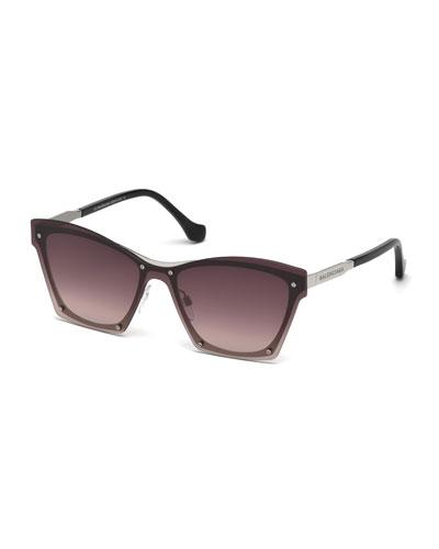 Squared Cat-Eye Overlay Sunglasses, Pink