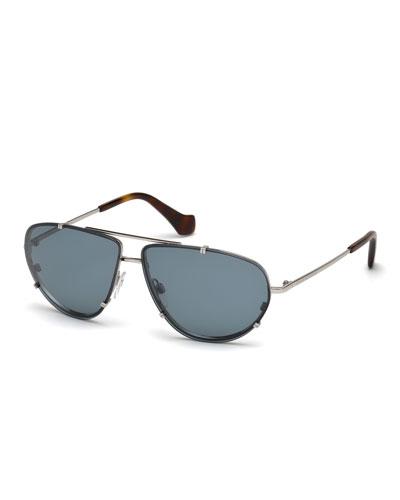 Metal Aviator Sunglasses, Blue