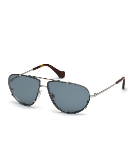 Balenciaga Metal Aviator Sunglasses, Blue