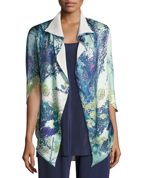Christine Designs Gatsby Floral-Print Short Shawl Robe, Multi