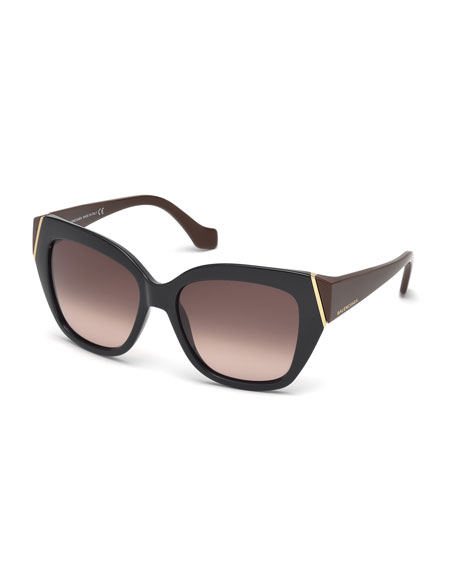 Balenciaga Plastic Two-Tone Cat-Eye Sunglasses, Dark Navy/Brown