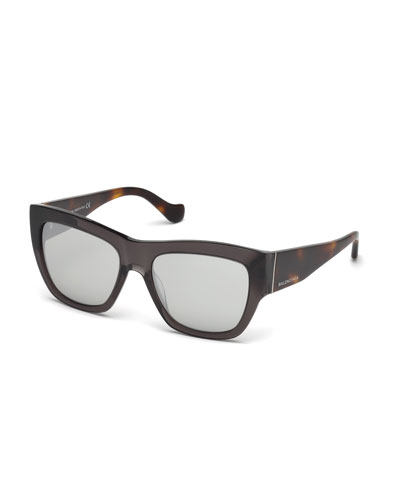 Square Two-Tone Sunglasses, Gray/Havana