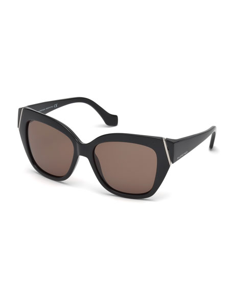 Balenciaga Plastic Polarized Cat-Eye Sunglasses, Black