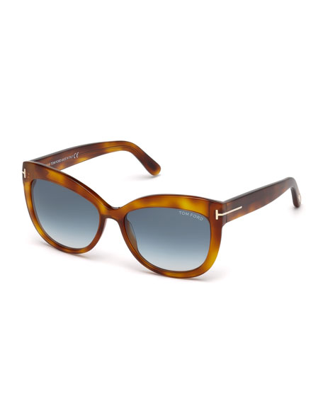 Alistair Squared Cat-Eye Sunglasses, Havana
