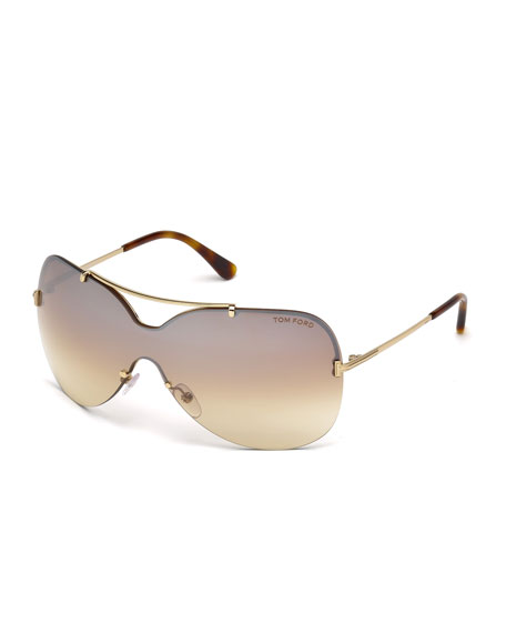 Ondria Metal Wrap Brow-Bar Sunglasses