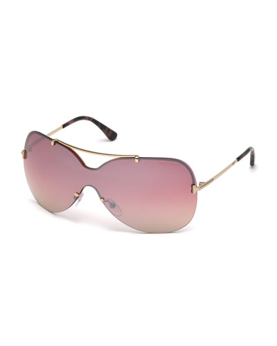 Ondria Metal Wrap Brow-Bar Sunglasses, Rose Gold