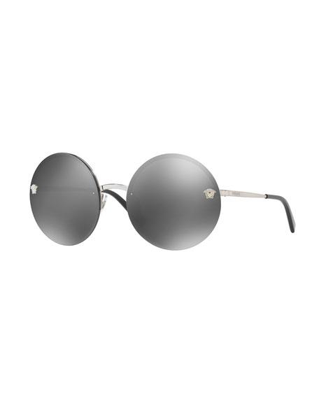 Versace Rimless Round Mirrored Sunglasses, Gray