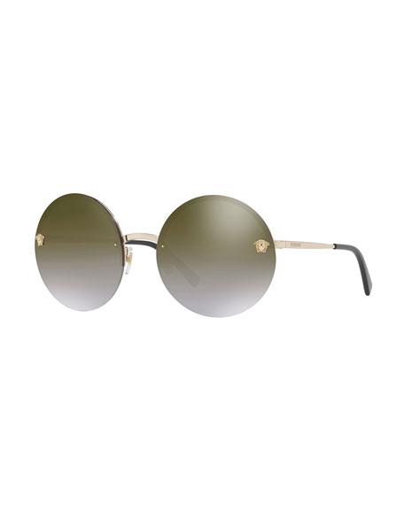 Rimless Round Mirrored Sunglasses, Gold/Green