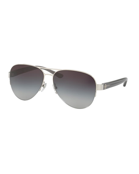 Tory Burch Mixed-Media Aviator Sunglasses