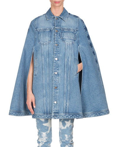 Long Denim Cape with Stars, Light Blue