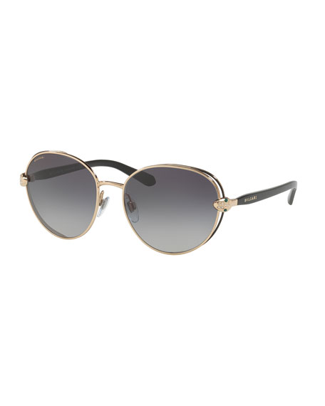 BVLGARI Serpenti Round Open-Inset Sunglasses, Gold/Black