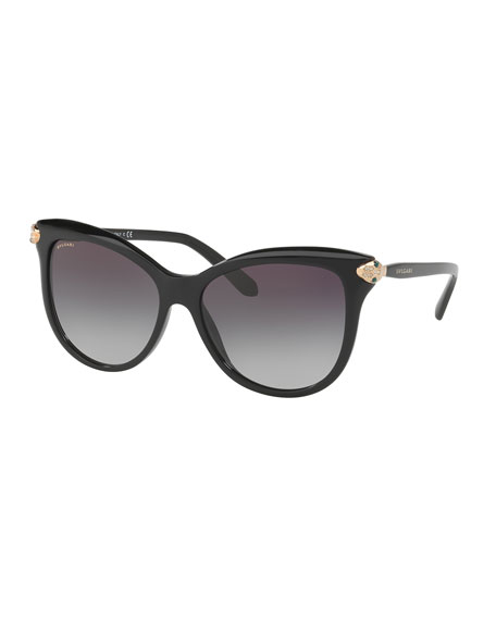 BVLGARI Serpenti Gradient Square Sunglasses, Black